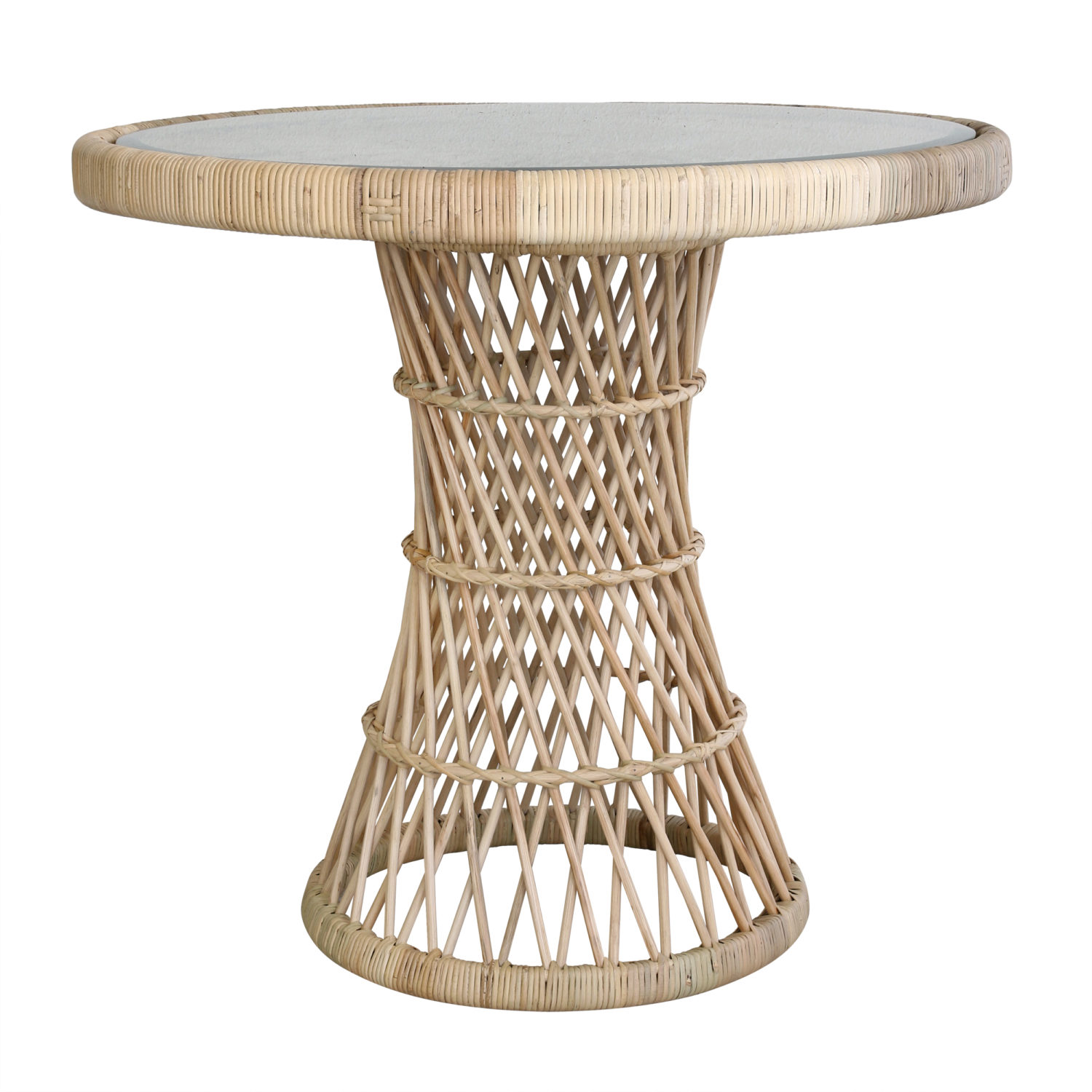 TABLE 1970 style rattan side table with smokey glass MY